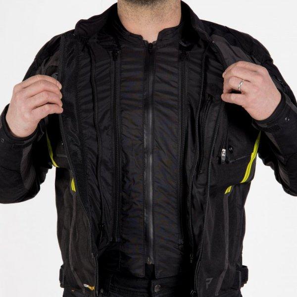 KURTKA TEKSTYLNA REBELHORN BORG BLACK/DARK GREY/FLO YELLOW XL