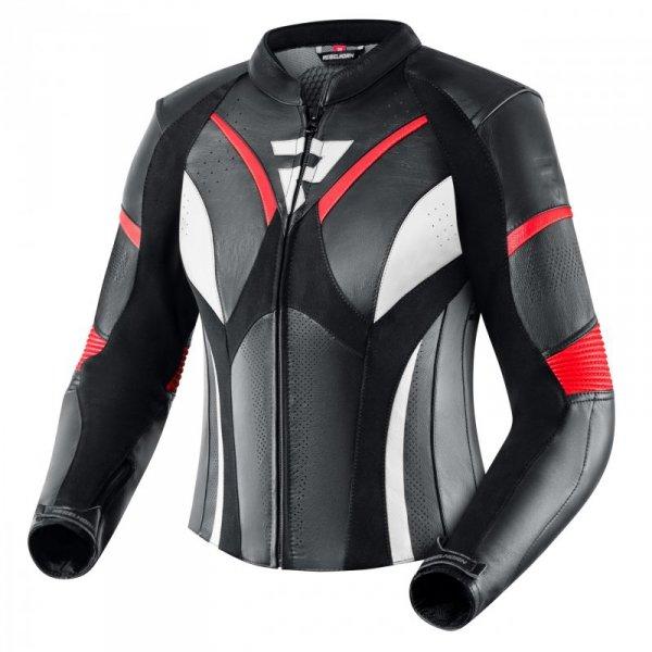 KURTKA SKÓRZANA REBELHORN REBEL LADY BLACK/FLO RED/WHITE D32