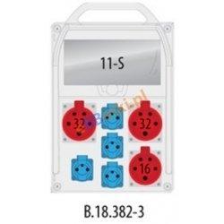 Rozdzielnica R-BOX 382R 11S 1x16A/5p, 2x32A/5p, 4x230V zabezp. 1xM.01-B32/3, 1xM.01-B16/3, 1xM.01-B16/1, 1xM.02-4/40/0,03, IP44