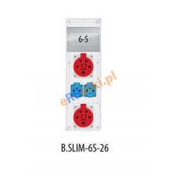 Rozdzielnica R-BOX SLIM 6S 2x32A/5p, 2x230V, zabezp. 1xM.01-B32/3, 2xM.01-B16/1, IP44