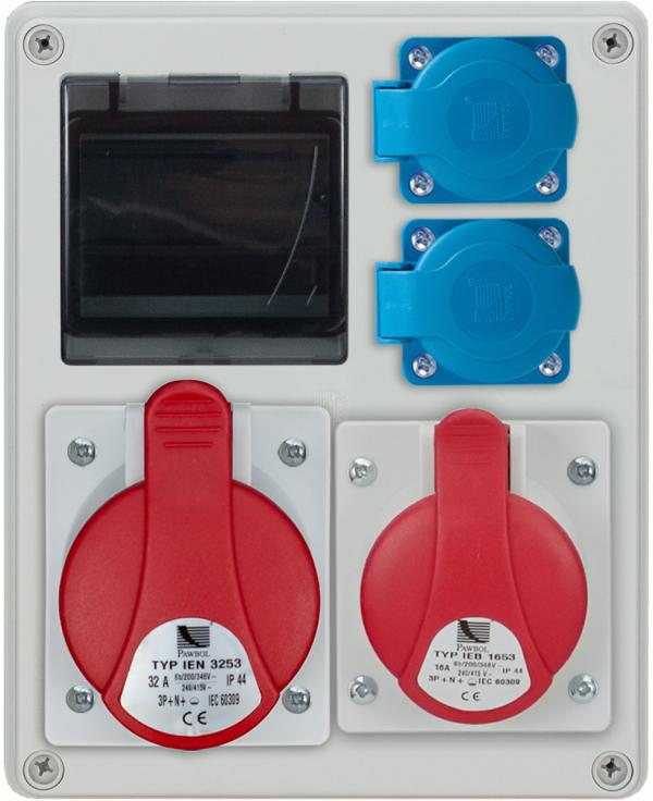 Rozdzielnica R-BOX 240R 4S 1x16A/4p, 1x32A/4p, 2x230V, zabezp. 1xM.01-B32/3, 1xM.01-B16/1, IP 44