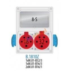 Rozdzielnica R-BOX 240 8S 1x16A/5p, 1x32A/5p, 2x230V, zabezp. 1xM.01-B32/3, 1xM.01-B16/3, 2xM.01-B16/1, IP44