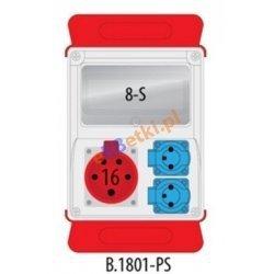 Rozdzielnica R-BOX 240 8S 1x16A/5p, 2x230V puste okno, podstawa stalowa (komplet 2 szt.), IP44