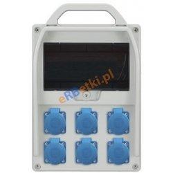 Rozdzielnica R-BOX 300R 9S, 6x230V, zabezp.różn.prąd 6x B 16/1p 2/25/0,03, IP44