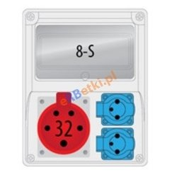 Rozdzielnica R-BOX 240 8S 1x32A/5p, 2x230V, puste okno, IP 44