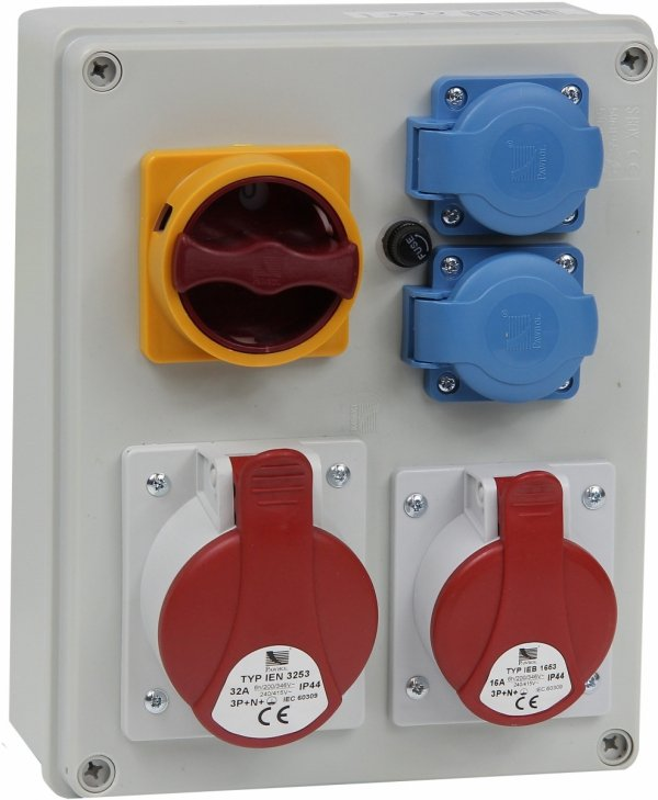 Rozdzielnica R-BOX 240 1x32A/5p, 1x16A/5p, 2x230V, wył. (L/P), IP44 B.1095W