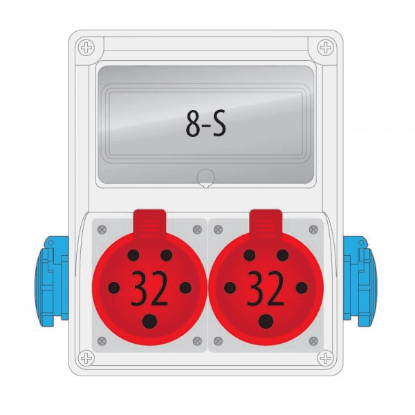 Rozdzielnica R-BOX 240 8S 2x32A/5p, 2x230V, puste okno, IP 44