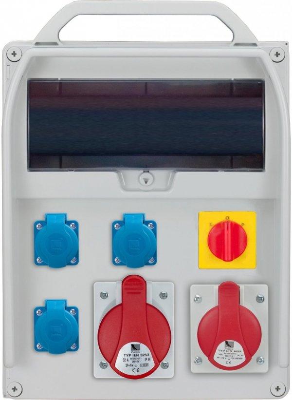 Rozdzielnica R-BOX 380R 13S 1x32A/5p, 1x16A/5p, 3x230V, wył. (L/P), puste okno, IP 44