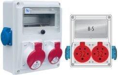 Rozdzielnica R-BOX 240 8S 1x16A/5p, 1x32A/5p, 2x230V, zabezp. 1xM.01-B32/3, 1xM.01-B16/1, 1xM.02-4/40/0,03, IP44