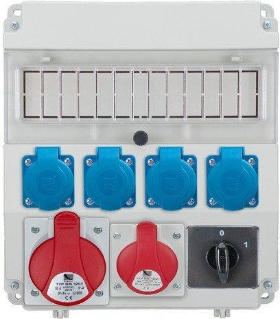 Rozdzielnica R-BOX LUX 320 1x32A/5p, 1x16A/5p, 4x230V, wył. (0/1), puste okno, IP 44