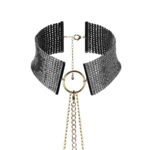Metallic mesh black collar
