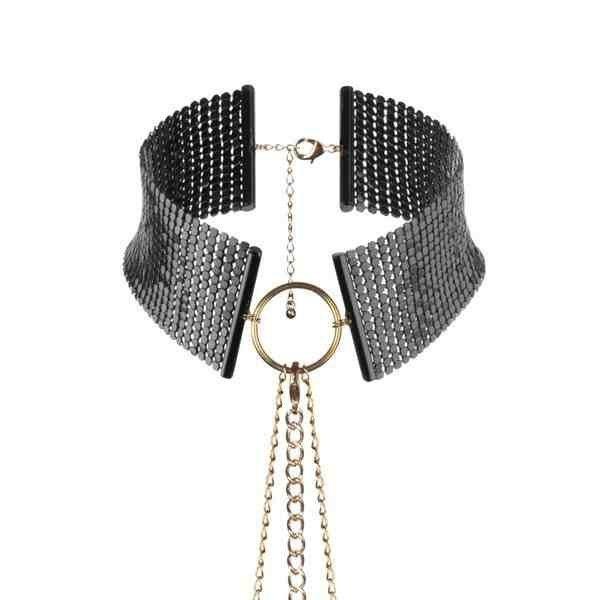 Metallic mesh black collar