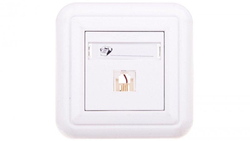 COSMO Gniazdo telefoniczne pojedyncze RJ11 białe 300463