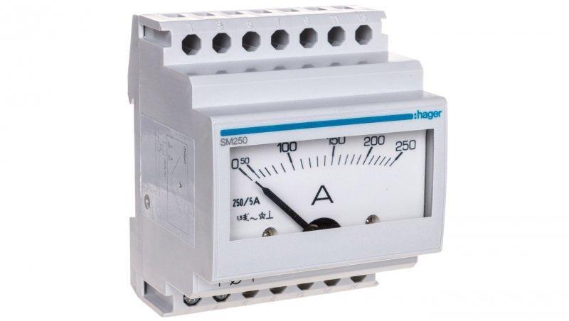 Amperomierz analogowy modułowy 0-250 A pomiar pośredni SM250