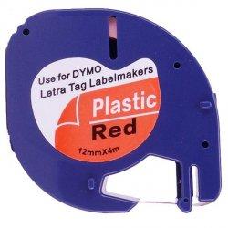 Taśma do Dymo LetraTag 59424 12mm x 4m Czarwona Plastik - zamiennik GP-DY91203