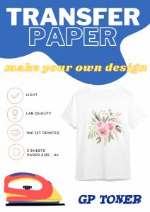 Papier transferowy naprasowanka a4 na jasne koszulki  5 ark PAP-WTT120