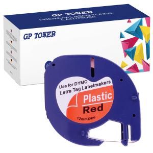 Taśma do Dymo LetraTag 59424 12mm x 4m Czarwona Plastik - zamiennik GP-DY59424