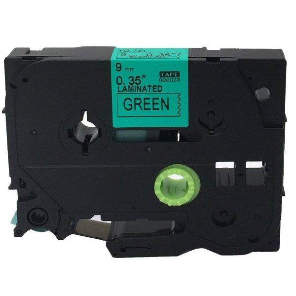 Taśma zamiennik do Brother TZ-721 Czarny na Zielonym