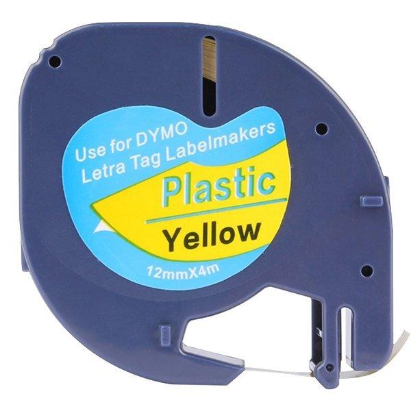 Taśma do Dymo LetraTag 59423 12mm x 4m Żółta Plastik - zamiennik GP-DY91202