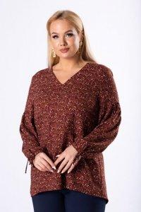 oversize'owa bluzka o koszulowym kroju z dekoltem w serek