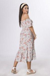 sukienka midi z hiszpańskim dekoltem