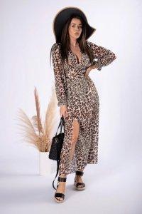 szyfonowa sukienka w panterkę