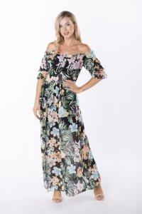 szyfonowa sukienka maxi z hiszpańskim dekoltem