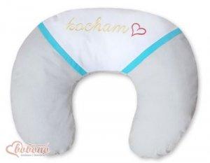 Poduszka rogal- Fasolka do karmienia- Kocham szaro-turkusowe haft (PL)