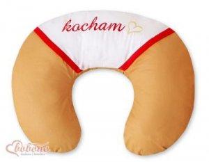 Poduszka rogal- Fasolka do karmienia- Kocham toffi-czerwone haft (PL)