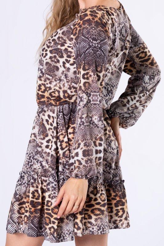 wzorzysta sukienka z bufiastymi rękawami i falbaną na biuście