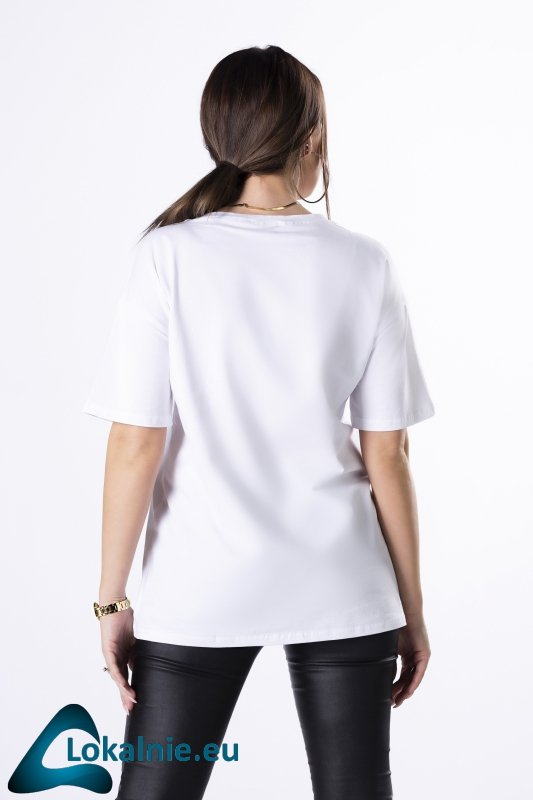 bawełniany t-shirt z nadrukiem na biuście