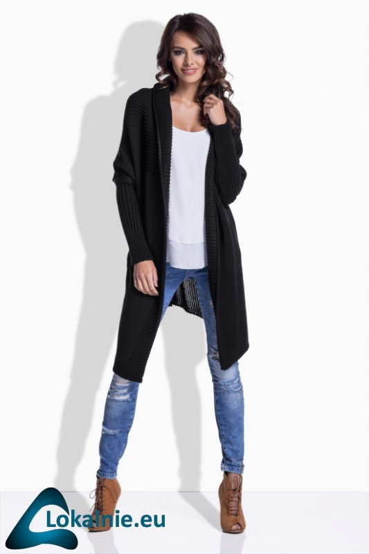 LS174 Dłuższy sweterek narzutka z fantazyjnym tyłem