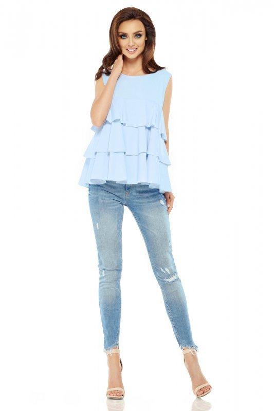Modna bluzka z potrójną falbaną L249