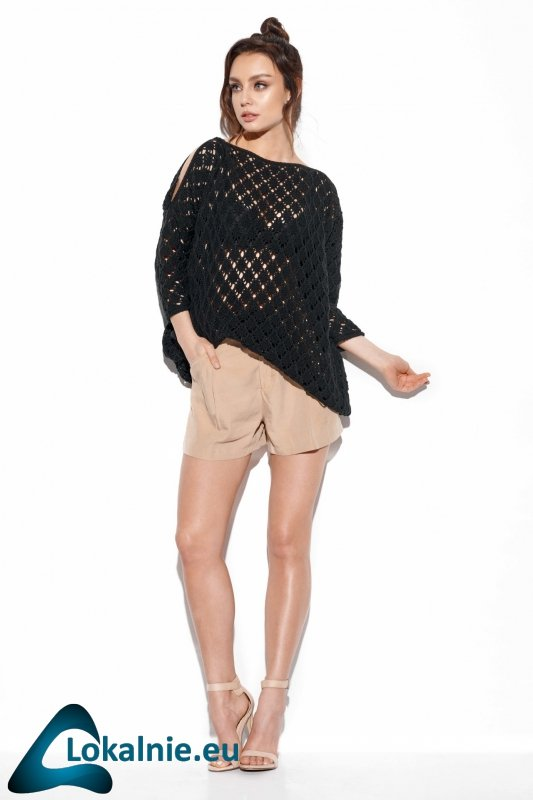 Ażurowy sweter z odkrytymi ramionami LS286