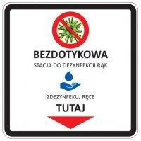 Etykieta na stację do dezynfekcji 22x22cm