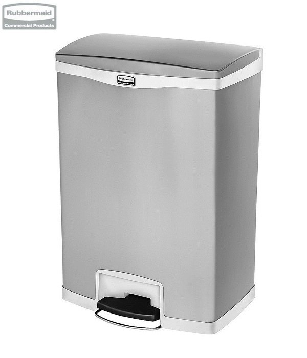 Kosz Slim Jim® Step-On 90L Metal stainless steel / white