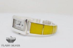 Zegarek ze srebra z naturalnym bursztynem kod 701