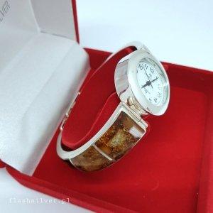 Zegarek ze srebra z bursztynem kod 474