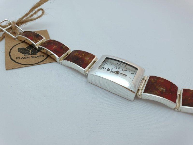 srebrny zegarek z bursztynem