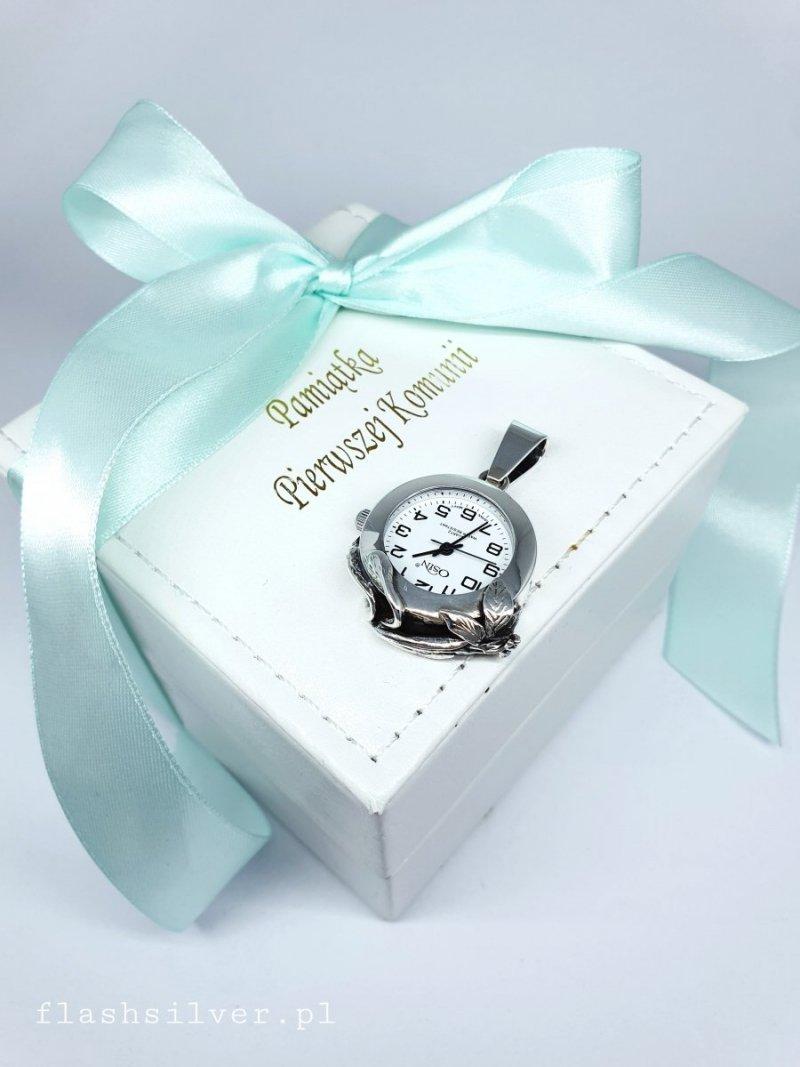 wiszący zegarek ze srebra prezent na komunię