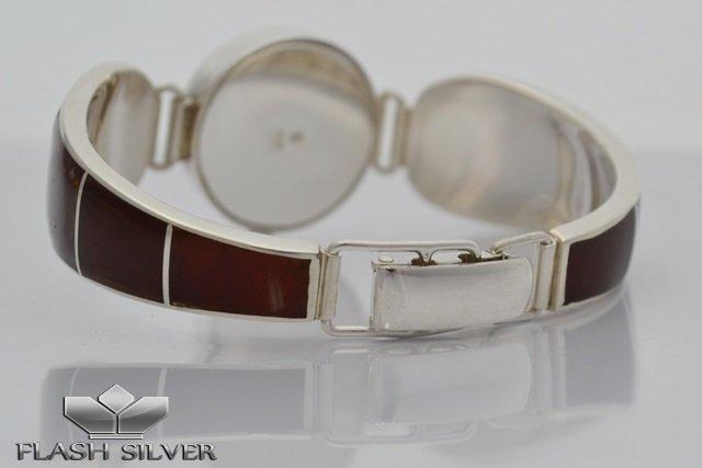 Zegarek srebryny z bursztynem naturalnym