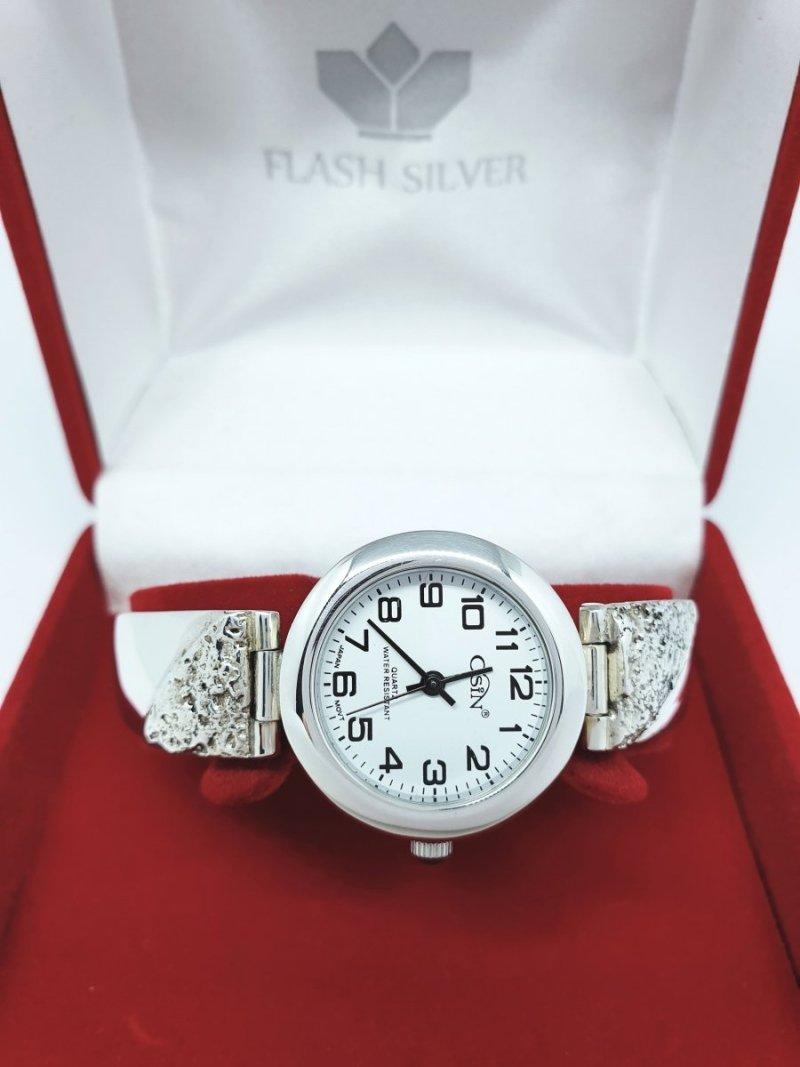 Srebrny zegarek damski z oksydą kod 897