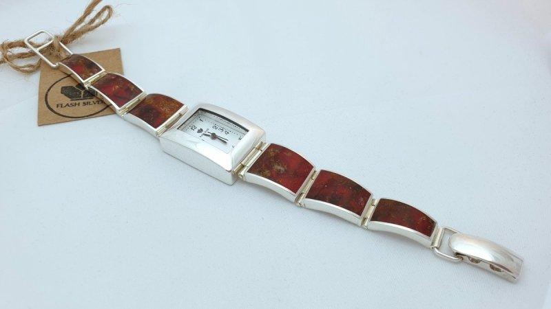 zegarek srebrny, zegarek z bursztynem naturalnym