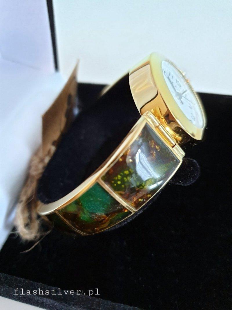 pozłacany zegarek z bursztynem
