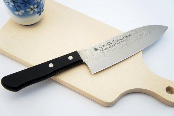 Nóż Santoku 17 cm Satake Nashiji Black Pakka