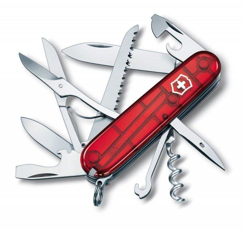 Victorinox Huntsman 1.3713.T czerwony przezroczysty