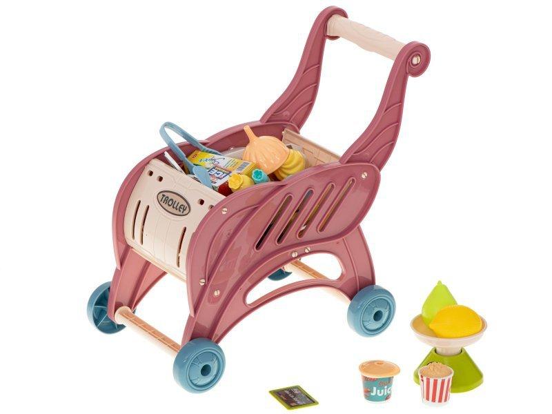 Supermarket sklep kasa fiskalna + wózek róż 40el.