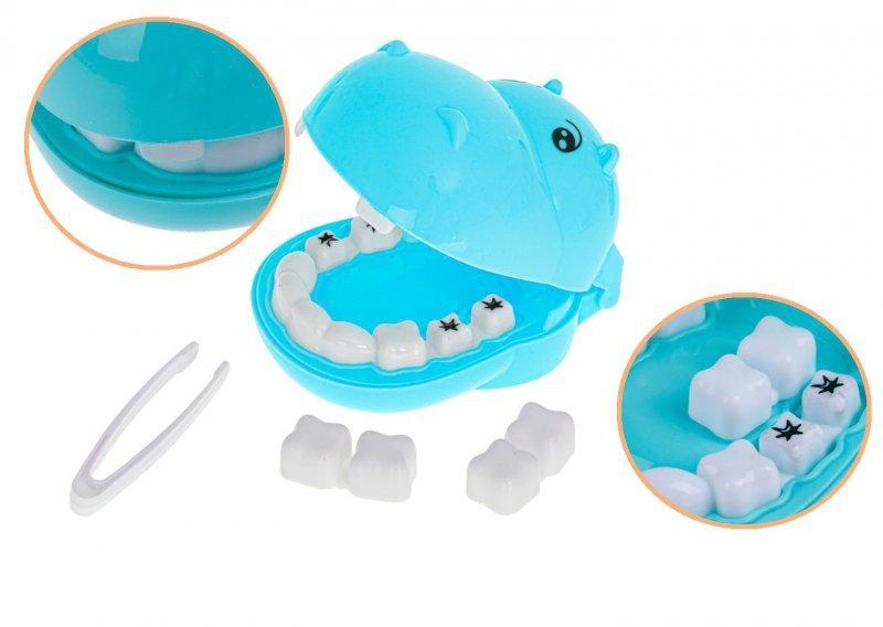 Dentysta zestaw lekarski hipopotam niebieski