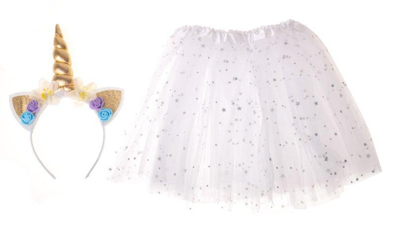 Kostium strój karnawałowy Jednorożec opaska+ spódniczka biały 3-6lat