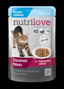Nutrilove łosoś w sosie dla kotów sterilisowanych 85g